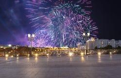 Vuurwerk over het Kremlin, Moskou, Rusland--de populairste mening van Moskou royalty-vrije stock fotografie