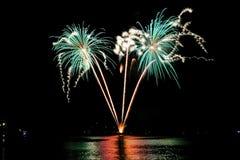 Vuurwerk over het overzees van Rapallo, het Stock Afbeelding