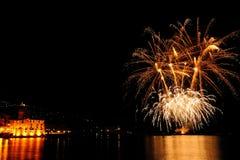 Vuurwerk over het overzees van Rapallo, het Royalty-vrije Stock Foto