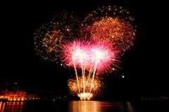 Vuurwerk over het overzees van Rapallo, het Stock Foto's