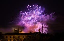 Vuurwerk over Lyon royalty-vrije stock afbeelding