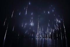 Vuurwerk over meer Stock Afbeeldingen
