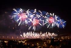 Vuurwerk over Moskou bij nacht Royalty-vrije Stock Afbeeldingen