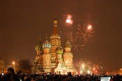 Vuurwerk over Moskou het Kremlin stock foto