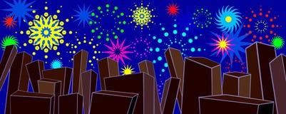 Vuurwerk over stad vector illustratie