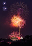 Vuurwerk over Washington DC op 4 Juli Stock Foto