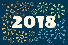 Vuurwerk retro 2018 banner Royalty-vrije Stock Foto's