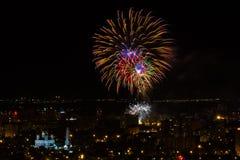 Vuurwerk Saratov Rusland Mei Negen Stock Fotografie