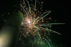 Vuurwerk in stad Royalty-vrije Stock Foto