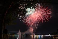 Vuurwerk in suanloungpark Thailand op 5 december 2015, vaderdag Royalty-vrije Stock Afbeeldingen