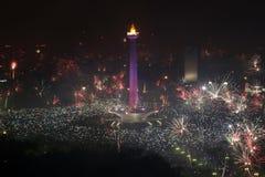 vuurwerk tijdens de viering van Nieuwjaar Royalty-vrije Stock Foto