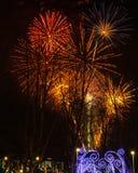 Vuurwerk tijdens de viering van Sao Jose van de Vadersdag in Povoa DE Lanhoso stock foto