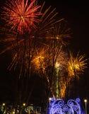 Vuurwerk tijdens de viering van Sao Jose van de Vadersdag in Povoa DE Lanhoso royalty-vrije stock foto