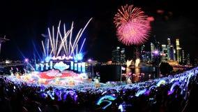 Vuurwerk tijdens NDP 2012 Royalty-vrije Stock Foto's