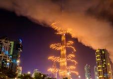 Vuurwerk van Burj Khalifa op Nieuwe Year& x27; s Vooravond 2016, Doubai Royalty-vrije Stock Afbeelding