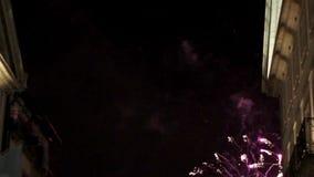 Vuurwerk van festival van St John van Porto stock videobeelden