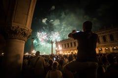 Vuurwerk in Venetië Stock Foto's