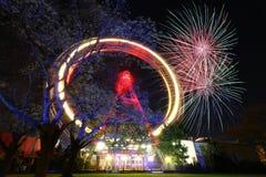 Vuurwerk in Wenen Prater royalty-vrije stock afbeelding