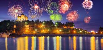 Vuurwerkdag van stad van Yaroslavl in Rusland Royalty-vrije Stock Afbeeldingen