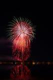 Vuurwerkfestival in de dag Nachtachtergrond Stock Afbeelding