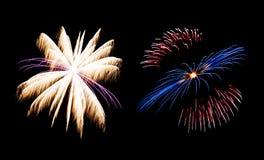 Vuurwerkinzameling en Reeks van kleurrijk vuurwerklicht op B Royalty-vrije Stock Fotografie