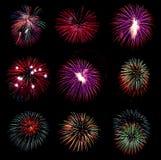 Vuurwerkinzameling en Reeks van kleurrijk vuurwerklicht op B Stock Afbeelding