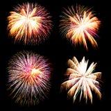 Vuurwerkinzameling en Reeks van kleurrijk vuurwerklicht op B Royalty-vrije Stock Afbeeldingen
