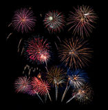 10 vuurwerkontploffingen op Zwarte Royalty-vrije Stock Afbeelding