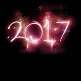2017 vuurwerkpartij - Nieuwjaarvertoning! Stock Afbeelding
