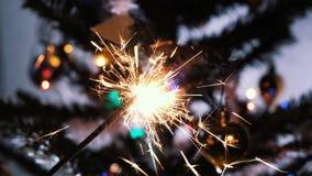 Vuurwerksterretje het branden met lichten op achtergrond stock video
