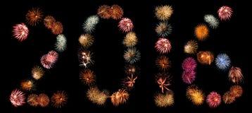 Vuurwerkuitbarstingen in Nummer 2016 worden geschikt die Royalty-vrije Stock Foto's