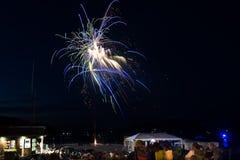 Vuurwerkvertoning bij Barhaven, Maine royalty-vrije stock foto