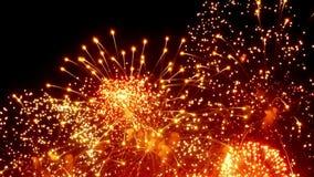 Vuurwerkvertoning bij nacht op zwarte achtergrond vector illustratie