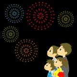Vuurwerkvertoning in Japan, Familie in yukata, kimono voor de zomer stock illustratie