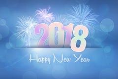 Vuurwerkvertoning voor gelukkig nieuw jaar 2018 Stock Afbeelding