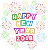 Vuurwerkvertoning voor gelukkig nieuw jaar 2018 boven de stad met klok Royalty-vrije Stock Foto's