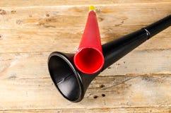 Vuvuzela for football fans. Noisy soccer fan equipment vuvuzela stock photos