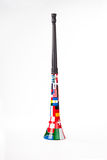 Vuvuzela upright. Image of a Vuvuzela with soccer world cup team flags on royalty free stock photography