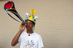 Vuvuzuela fan, South Africa royalty free stock photo