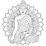 Vuxen antistress färgläggningmanadala, kvinna som gör yogamodellen, astrakan Illustration av svarta linjer klotter, vit royaltyfri illustrationer