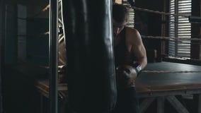 Vuxen caucasian man i boxninghandskar som hårt stansar påsen i ultrarapid stock video
