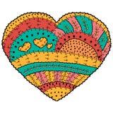Vuxen färgläggningbok Design för modell för vektor hjärta formad etnisk i nyckfull stil Royaltyfri Bild