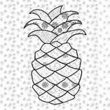 Vuxen färgläggningsida för ananas stock illustrationer