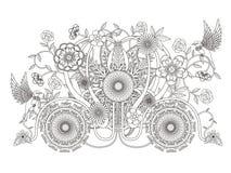 Vuxen färgläggningsida för blom- vagn vektor illustrationer