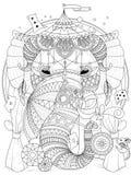 Vuxen färgläggningsida för elefant Fotografering för Bildbyråer