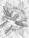 Vuxen färgläggningsida för fågel Royaltyfri Foto