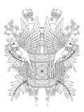 Vuxen färgläggningsida för fågel Fotografering för Bildbyråer