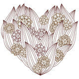 Vuxen färgläggningsida för hjärta Nyckfull blom- design Arkivfoto