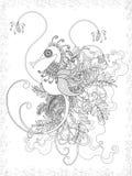 Vuxen färgläggningsida med hippocampusen Royaltyfri Bild