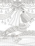 Vuxen färgläggningsida med pelikan Royaltyfria Bilder